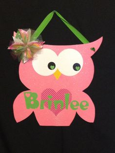 Only $25. Owl door hanger. Perfect for wall in girls bedroom or nursery. Can be ordered in boy colors (or any colors).