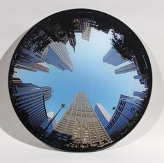 Peter Newman Chicago, Hancock Tower, 2005. C type photograph and glass, 19.5 in / 50 cm diameter