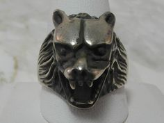 Sterling Silver Custom Wolf Head Ring by MadJacksJewelry on Etsy