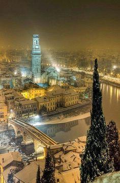 Winter's night over Verona, Italy