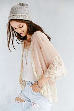 Pins And Needles Lace-Inset Chiffon Kimono Jacket