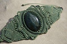 Macrame bracelet with Huichol Obsidian (natural stone) via Etsy