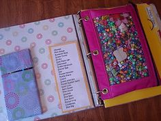 """Quiet book/activity binder - I remember making bags with """"quiet activities"""" for my kids to take to church or to the dr's office. These binders are great! Craft Activities, Toddler Activities, Church Activities, Travel Activities, Weather Activities, Road Trip Games, Road Trips, My Bebe, Busy Bags"""