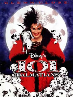 101 Dalmatians, 1996 (6+)  This funny story happened in England for Christmas... the Villain Cruella De Vil decides to steal exactly 101 Dalmatians to replenish the collection of their fur.  Director: Stephen Herek Actors  Glenn Close (Cruela De Vil)  Jeff Daniels (Roger)  Joely Richardson (Anita Radcliffe) https://www.youtube.com/watch?v=bbpCLT6dq8E