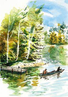 Canoe on Lake Painting