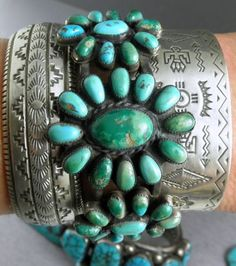 42g-Domed-Old-Pawn-Classic-NAVAJO-RUG-Pattern-Sterling-Cuff-Bracelet