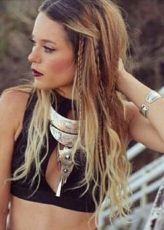 Boho style festival style// long hair // balayage // summer // crop top
