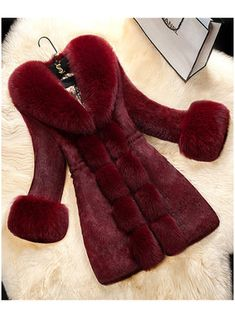 Winter Womens Faux Fur Parka Trench Coat New Slim Fit Long Jacket Casual Outwear in Clothing, Shoes & Accessories, Women's Clothing, Coats & Jackets Fur Collar Jacket, Faux Fur Collar, Fur Collars, Leather Collar, Winter Coats Women, Coats For Women, Rabbit Fur Coat, Langer Mantel, Women's Fashion Dresses