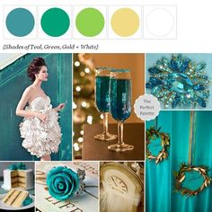 Shades of Teal, Green, Gold + White. Living room, gray instead of green.