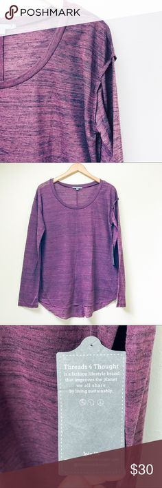 Lightweight Long-Sleeve Tee Beautiful, long-sleeved tee in deep, heathered purple. This tee is super lightweight ~ great for layering and activity. Organic, eco-friendly, and sustainably made.  ✅Offers On Items Over $10 ✅Bundle & Save 🚫Trades 🚫Off-Posh 🚫Modeling  💞Shop with ease; I'm a Suggested User.💞 Threads 4 Thought Tops Tees - Long Sleeve