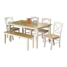 Wonderful Tiffany 6 Piece Dining Set In White U0026 Natural