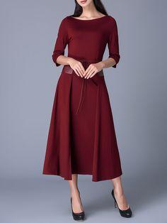 #AdoreWe #StyleWe Dresses - Y&M Crimson 3/4 Sleeve A-line Midi Dress - AdoreWe.net