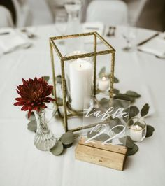 Wedding centerpiece with lantern and table number