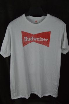 Budweiser white T-shirt throw back retro old school design hanes XL nano T #HAnes #budweiser