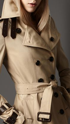 Burberry leather detail heritage trench coat