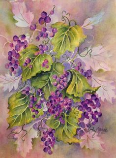 Creative Painting by Martha Kisling: GRAPES & LEAVES - Negative Painting