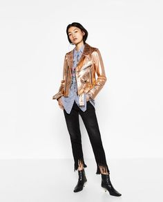 ZARA - WOMAN - METALLIC LEATHER JACKET