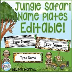 Jungle Theme Name Plates Editable! Use this 29 page resource in your preschool, Kindergarten, 1st, 2nd, 3rd, or 4th grade classroom or homeschool. You'll get desk plates with primary lines, an alphabet, and a number line - OR use the blank desk nameplates. Click through now to see how this editable file will be a great hit in your jungle or safari classroom decoration theme! $ {preK, Kinder, first, second, third, fourth grader}