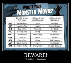 "What's Your Monster Movie?  Mine is   ""Attack of the Disco Swamp Beasts"" hahaha      I Love all Vintage/classic Horror Movies!!"