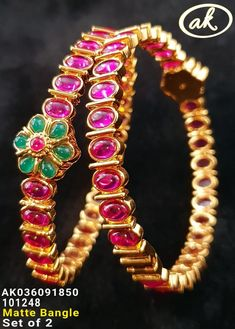 Temple jewellery Available at for booking msg on Bridal Jewelry, Gold Jewelry, Beaded Jewelry, Jewelry Bracelets, Ruby Bangles, Gold Bangles, India Jewelry, Temple Jewellery, Diamond Bangle