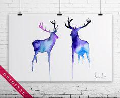 Deers Original Watercolor Painting - Animal Wall Art