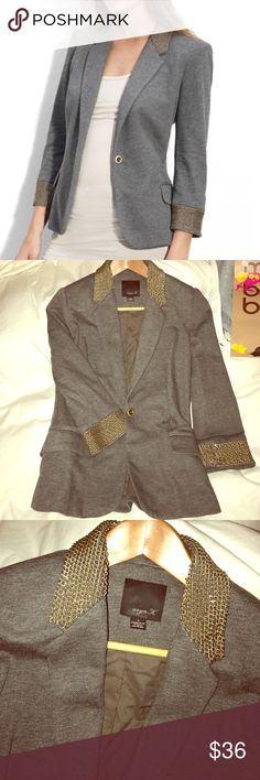 """Nordstrom Aryn K Blazer with Metal Detail never been worn. Gold chain encircles the collar and cuffs of a knit single-button blazer. Bracelet-length sleeves. Faux flap pockets. Fully lined. Cotton/polyester; dry clean. By Aryn K; imported. t.b.d. Approx. length from shoulder 24"""". Nordstrom Jackets & Coats Blazers"""
