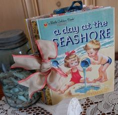 Seashore book cover. Scrap booking with a Little Golden Book by Debby Schuh.