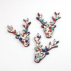 Beautiful wood shapes covered on one side, these Wiltshire Berry Liberty Print Stag Heads are unique embellishments for your cards and craft projects. Liberty Fabric, Liberty Print, Festive Crafts, Christmas Crafts, Stag Head, Wooden Shapes, Glue Crafts, Festival Decorations, Craft Materials