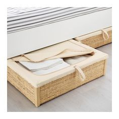 IKEA RÖMSKOG bed storage box Turns the space under your bed into a smart place for storing. Linen Storage, Wall Storage, Bedroom Storage, Storage For Small Bedrooms, Couch Storage, Bedding Storage, Bedroom Shelves, Ikea Shelves, Rattan