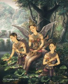 """[Thai Tale] """"Pra Suthon - Manora"""" The famous love story from epic of Thailand. Traditional Paintings, Traditional Art, Peacock Images, Thailand Art, Thai Art, Beautiful Fantasy Art, Mythological Creatures, Mythical Creatures, Dance Art"""