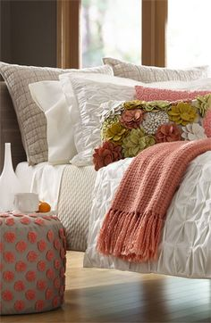 Shop bed and bath at Buyer Select. Our curated selection includes beautiful duvet covers, designer, and luxury bedding sets as well as sumptuous linens. Home Bedroom, Master Bedroom, Bedroom Decor, Coral Bedroom, Bedroom Colors, Bedroom Ideas, Design Bedroom, Peach Bedroom, Bed Sets