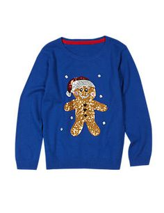 Round Neck Sequin Embellished Jumper with Wool (1-7 Years)