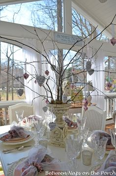 Between Naps on the Porch   Table Setting with Music and Mercury-Glass Heart Tree   http://betweennapsontheporch.net