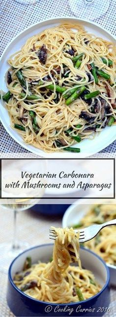 Vegetarian Carbonara with Mushrooms and Asparagus - http://www.cookingcurries.com