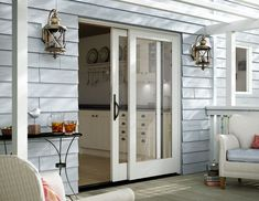 Ideas Small Patio Doors Balconies For 2019 Exterior Sliding Glass Doors, Sliding French Doors, Sliding Door Design, French Doors Patio, Kitchen Sliding Doors, Modern Patio Doors, Exterior Patio Doors, Cottage Exterior, Double Doors