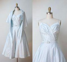 1950s dress / 50s Pale Blue Polished Cotton Sundress & Shawl