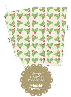 Vintage Christmas Holly Popcorn Box from PrintableTreats.com