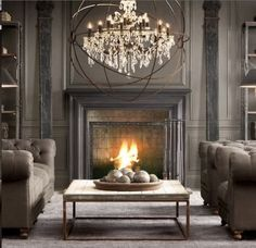 elegant grey living room décor and fireplace