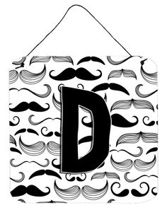 Letter D Moustache Initial Wall or Door Hanging Prints CJ2009-DDS66
