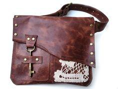 Boho Leather Hip Bag with Vintage Crochet Doily von UrbanHeirlooms Leather Belt Bag, Leather Crossbody, Leather Festival Bags, Antique Keys, Boho, Bohemian Style, Bohemian Bag, Hip Bag, Red Bags