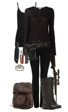 A fashion look from November 2017 featuring henley shirts, relaxed fit jeans and Tresics. Browse and shop related looks. Bad Girl Outfits, Punk Outfits, Junior Outfits, Walking Dead Clothes, The Walking Dead, Spy Outfit, Apocalyptic Clothing, Movie Inspired Outfits, Fandom Outfits