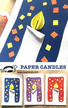 PAPER CANDLES (krokotak) Watch video: Printable templates: see more: day activities for kids families Art Ideas For Teens, Art Projects For Adults, Toddler Art Projects, Art For Kids, Big Kids, Christmas Activities For Kids, Winter Crafts For Kids, Kids Crafts, Children Activities