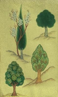 trees for backgrounds Botanical Illustration, Illustration Art, Egyptian Drawings, Mughal Paintings, Tibetan Art, Indian Folk Art, Iranian Art, Turkish Art, Art Icon