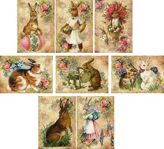Vintage Easter 8 Bunny Rabbit Antique Pictures Note Cards Tags Scrapbooking | eBay