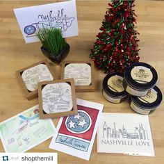 #Repost @shopthemill  Show a little Nashville love  with these adorable coasters candles (leather & whiskey scent) and notecards! Perfect for housewarming parties holiday hostess gift and even a little treat for yourself  #nashville #love #shopthemill #gift #happy  Nashville coasters (set of 10) - $15 Nashville candle leather and whiskey scent $12 Nashville cards $4-$5 each