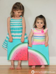 See how great the new line of Deco Art Americana Premium Paints blend together to create a beautiful watermelon canvas art this summer! Kids Canvas Art, Small Canvas Paintings, Easy Canvas Painting, Diy Painting, Canvas Crafts, Easy Painting For Kids, Drawing For Kids, Art For Kids, Summer Art Projects