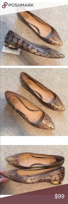 """Tory Burch Bedford Snake Print Point Flats 9 $350 Very nice preloved with just typical wear to note - no serious issues. No box no bag. Sole measures 11"""" from point tip to heel. FIRM PRICE Tory Burch Shoes Flats & Loafers"""