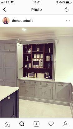 'Breakfast pantry' ' crumb cupboard for small appliances - Modern Kitchen Larder, Kitchen Cupboards, Kitchen Countertops, Diy Kitchen, Kitchen Interior, Kitchen Decor, Kitchen Ideas, Larder Cupboard, Beautiful Kitchens