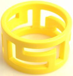Retro Yellow Geometric Maze Bangle Bracelet