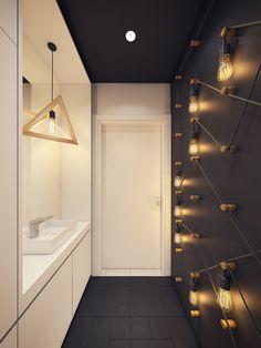 A Modern Scandinavian Inspired Apartment With Ingenius Features #interiordesign #architecture #scandinavian #ingenius #livingroom #modern # bathroom #blackandwhite #yellow #yellowlights #futuristiclights #hallway #neonlights #greykitchen #woodenfloors #neonlights